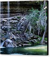 Water And Lights At Hamilton Pool Canvas Print by Lisa  Spencer