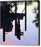 Water Reflection Of A Fisherman Canvas Print by Judy Via-Wolff