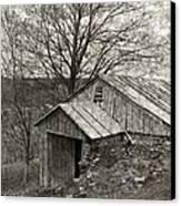 Weathered Hillside Barn Canvas Print by John Stephens