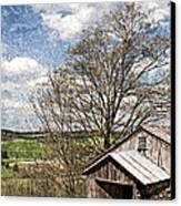 Weathered Hillside Barn Spring Canvas Print by John Stephens