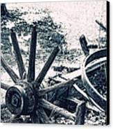Weathered Wagon Wheel Broken Down Canvas Print by Tracie Kaska