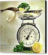 Weight Scale With Fish  Canvas Print by Sandra Cunningham
