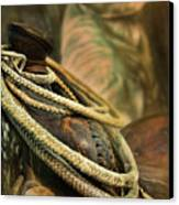 Western Style Saddle And Cowboy Canvas Print by Melinda Moore