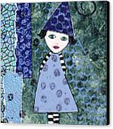 Whimsical Blue Girl Mixed Media Collage  Canvas Print by Karen Pappert