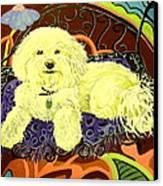 White Dog In Garden Canvas Print by Patricia Lazar