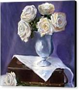 White Roses In A Silver Vase Canvas Print by Jack Skinner