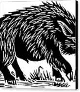 Wild Boar, Woodcut Canvas Print by Gary Hincks