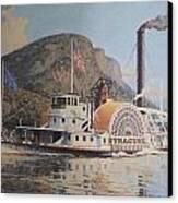 William G Muller Lithograph Towboat Syracuse  Canvas Print by Jake Hartz