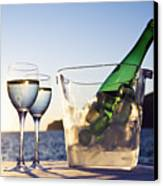 Wine Glasses And Bottle Outdoors Canvas Print by Bill Holden