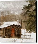 Winter Cabin 2 Canvas Print by Ernie Echols
