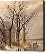 Winter Landscape With Faggot Gatherers Conversing On A Frozen Lake Canvas Print by Josephus Gerardus Hans