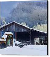 Winter Shed Canvas Print by Ron Jones
