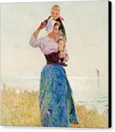 Woman And Child In A Meadow Canvas Print by Hector Caffieri