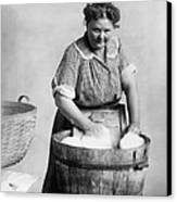 Woman Doing Laundry In Wooden Tub Canvas Print by Everett