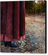 Woman In Vintage Clothing On Cobbled Street Canvas Print by Jill Battaglia
