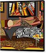 Woman On A Chaise Lounge Canvas Print by Jann Paxton