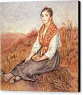 Woman With A Bundle Of Firewood Canvas Print by Pierre Auguste Renoir