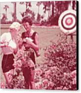 Women Holding Bow And Quiver By Target Canvas Print by Archive Holdings Inc.