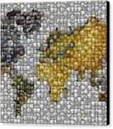 World Map Coin Mosaic Canvas Print by Paul Van Scott