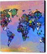 World Peace Tye Dye Canvas Print by Bill Cannon