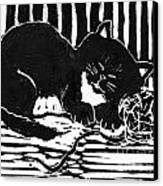 Yarn Cat  Block Print Canvas Print by Ellen Miffitt