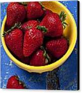 Yellow Bowl Of Strawberries Canvas Print by Garry Gay