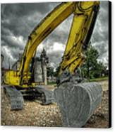 Yellow Excavator Canvas Print by Jaroslaw Grudzinski