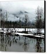Yosemite River View In Snowy Winter Canvas Print by Jeff Lowe