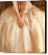 Young Lady Sitting In Satin Gown Canvas Print by Jill Battaglia