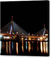 Zakim Over The Charles River Canvas Print by Richard Bramante