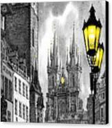 Bw Prague Old Town Squere Canvas Print by Yuriy  Shevchuk