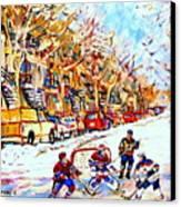 Hockey Game On Colonial Street  Near Roy Montreal City Scene Canvas Print by Carole Spandau
