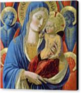 Virgin And Child With Angels Canvas Print by Benozzo di Lese di Sandro Gozzoli