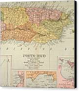 Map: Puerto Rico, 1900 Canvas Print by Granger