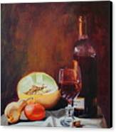 Still Life With Wine Canvas Print by Rose Sciberras