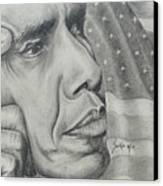 Barack Obama Canvas Print by Stephen Sookoo