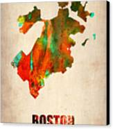 Boston Watercolor Map  Canvas Print by Naxart Studio