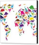 Dinosaur Map Of The World Map Canvas Print by Michael Tompsett
