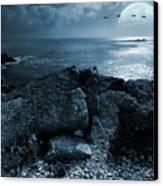 Fullmoon Over The Ocean Canvas Print by Jaroslaw Grudzinski