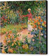 Garden At Giverny Canvas Print by Claude Monet