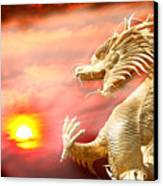 Giant Golden Chinese Dragon Canvas Print by Anek Suwannaphoom