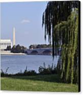 Lincoln Memorial And Washington Monument From The Potomac River Canvas Print by Brendan Reals