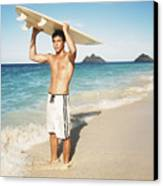 Man At The Beach With Surfboard Canvas Print by Brandon Tabiolo - Printscapes