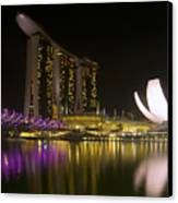 Marina Bay Sands Hotel And Artscience Museum In Singapore Canvas Print by Zoe Ferrie