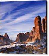 Mist Rising In Arches National Park Canvas Print by Utah Images