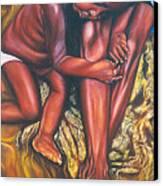 Mother And Child Canvas Print by Shahid Muqaddim