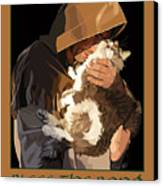 St. Francis With Cat Canvas Print by Kris Hackleman