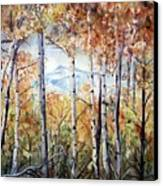 Tetons In Autumn Canvas Print by Patricia Pushaw