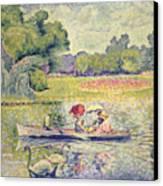 The Promenade In The Bois De Boulogne Canvas Print by Henri-Edmond Cross