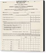 1913 Federal Income Tax 1040 Form. The Canvas Print by Everett